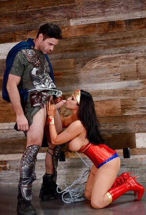 Excited naughty superwoman used by legionnaire making her suck and also cumming on face